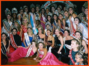 Reigning Queens from festivals all over the state of Louisiana at the 2003 Bonfire Festival in Lutcher, LA