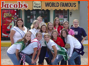 2002 / 2003 Queens from Festivals around the state of Louisiana visit Jacob's with Miss Teen Andouille 2003